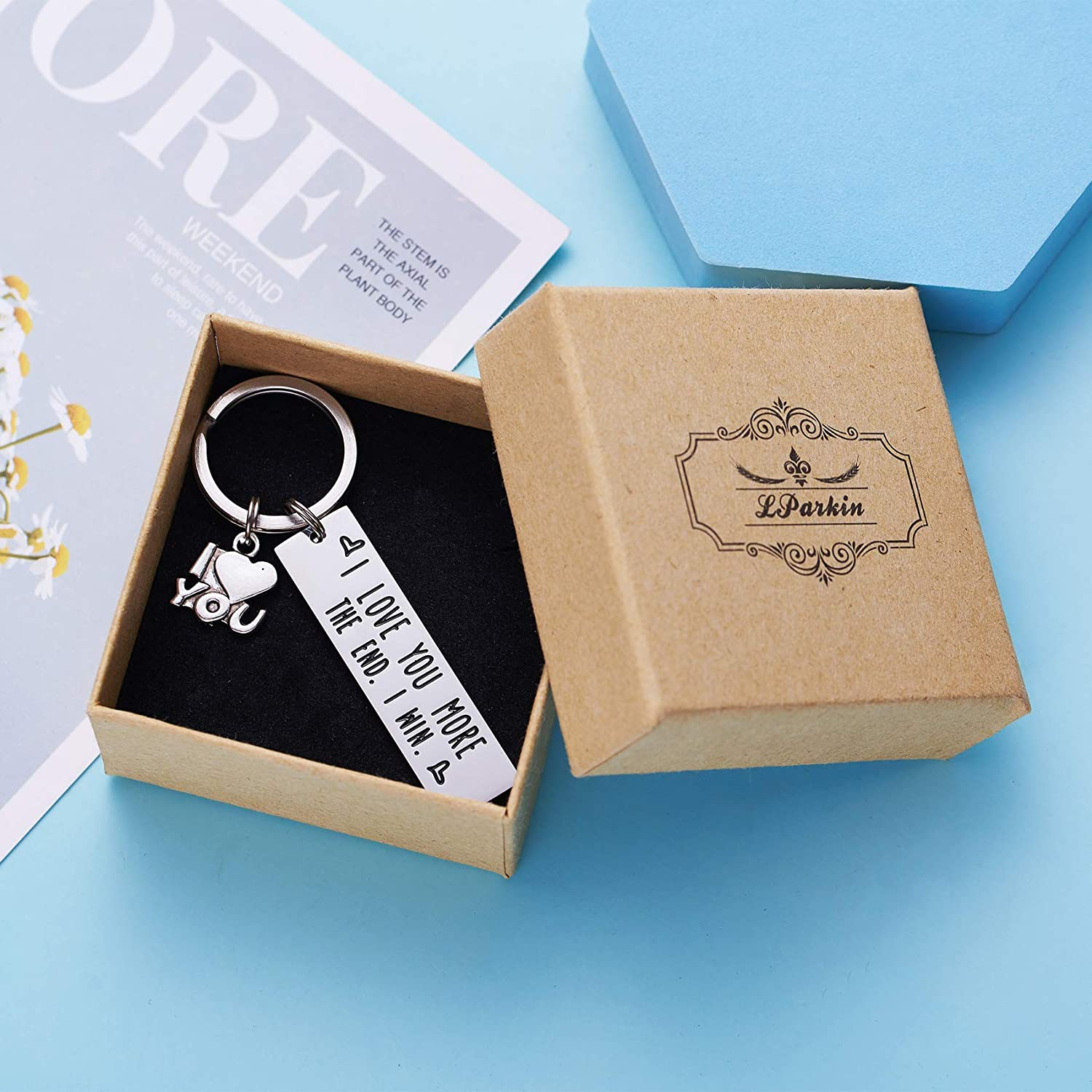 I Love You More The End I Win LParkin I Love You More The End I Win Love You More Mostest Keychain Couples Friendship Key Chain Cute Boyfriend Girlfriend Birthday Gifts for Him Her