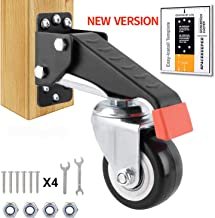 SPACEKEEPER Workbench Casters kit - 4 Heavy Duty Retractable Caster Wheels Designed for Workbenches Machinery & Tables, Install Template Included