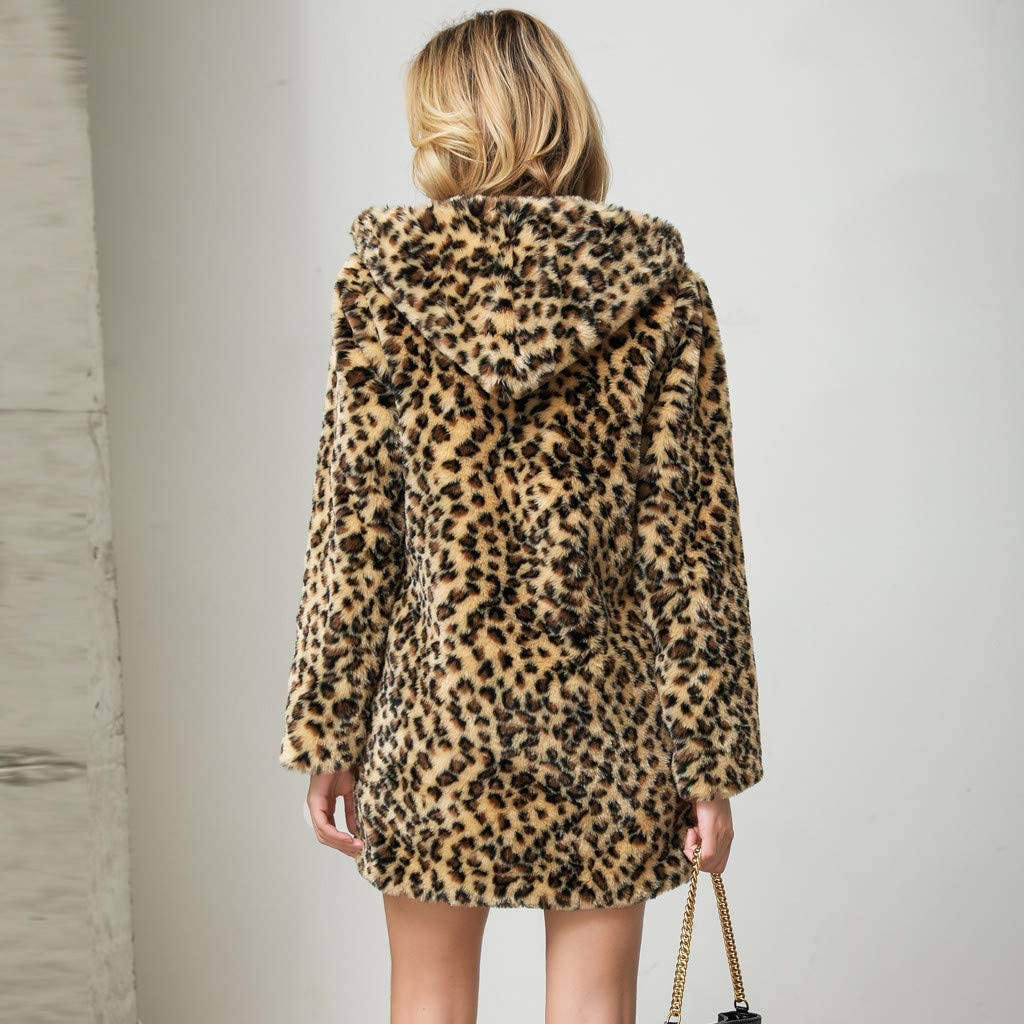 SALUCIA Damen Pelzmantel Leopard/Tiger Muster Warme Kunstpelz Mantel mit Kapuze Flauschige Fellmantel Nerzmantel Parka Jacke Wintermantel Khaki 1