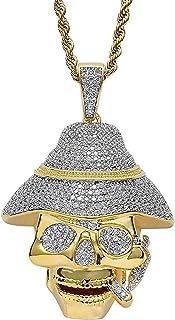 Hiphop Necklace, الهيب هوب مثلج من القراصنة الجمجمة معلقة 18 كيلو الذهب مطلي سلسلة قلادة للرجال النساء