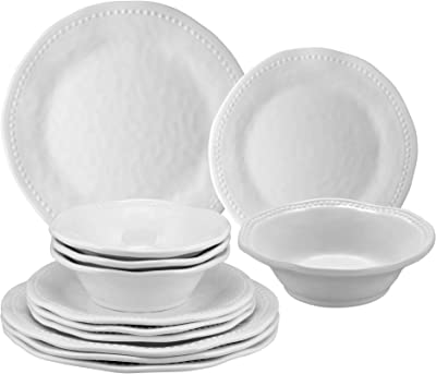 Gourmet Art 12-Piece Beaded Heavyweight and Durable Melamine Dinnerware Set, Service for 4. Includes Dinner Plates, Salad Plates and Bowls. for Indoors Outdoors Use and Everyday Use.