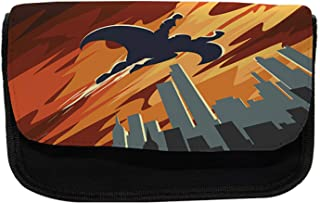 Ambesonne Vintage Pencil Case, Flying Superhero, Fabric Pen Pencil Bag with Double Zipper, 8.5