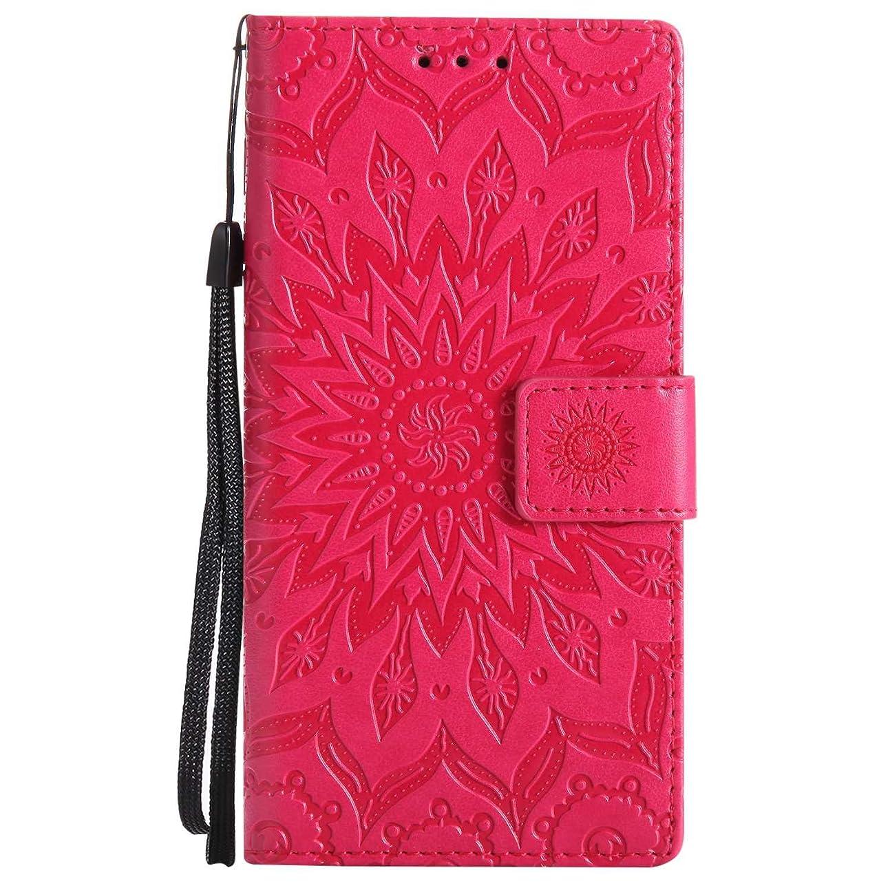 代表する安全性担当者OMATENTI Nokia 3 ケース, 良質PUレザー 財布 フリップ ケース 耐衝撃性 衝撃吸収 液晶保護 ケース電話カバー 付きカードスロット, リストストラップ, 横置きスタンド機能付き, 赤