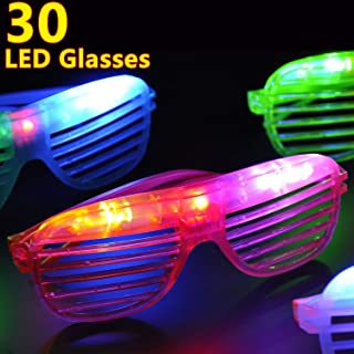 30 Pack Halloween Led Glasses Light Up Toys Glow in The Dark Party Favor Supplies with Free 25 Flashing LED Ring for Kids Thanksgiving Christmas Holiday Birthday Gift Party Pack Replaceable Battery