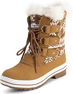 Polar Womens Mid Padded Thermal Durable Rubber Sole Waterproof Winter Snow Faux Fur Boots - Tan Cardy - EU37/US6 - YC0635