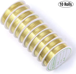 50 Yards 10 Rolls Gold Plated Thin Brass Wire 22 Gauge Metal Flexible Beading Wire Bulk for Jewelry Making & Craft