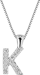 Diamond Wish 14k White Gold Diamond Initial Pendant Necklace (1/10cttw) with 18-inch Chain