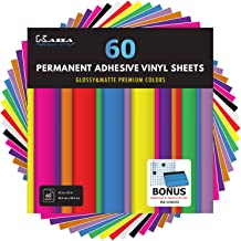 "Kassa Permanent Vinyl Sheets (Pack of 60, 12"" x 12"") - Includes Bonus Squeegee - Bundle of Assorted Colors (Matte & Glossy..."
