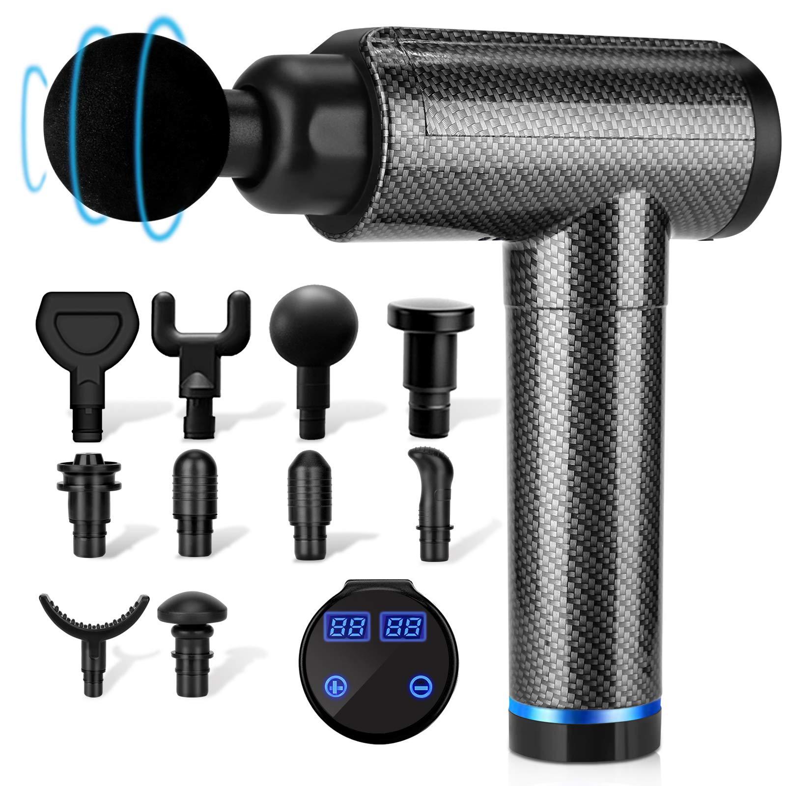 Muscle Massage Gun, Percussion Massage Gun Deep Tissue for Athletes, 30 Speeds Quiet Handheld Massager, LCD Touch Screen with 10 Head