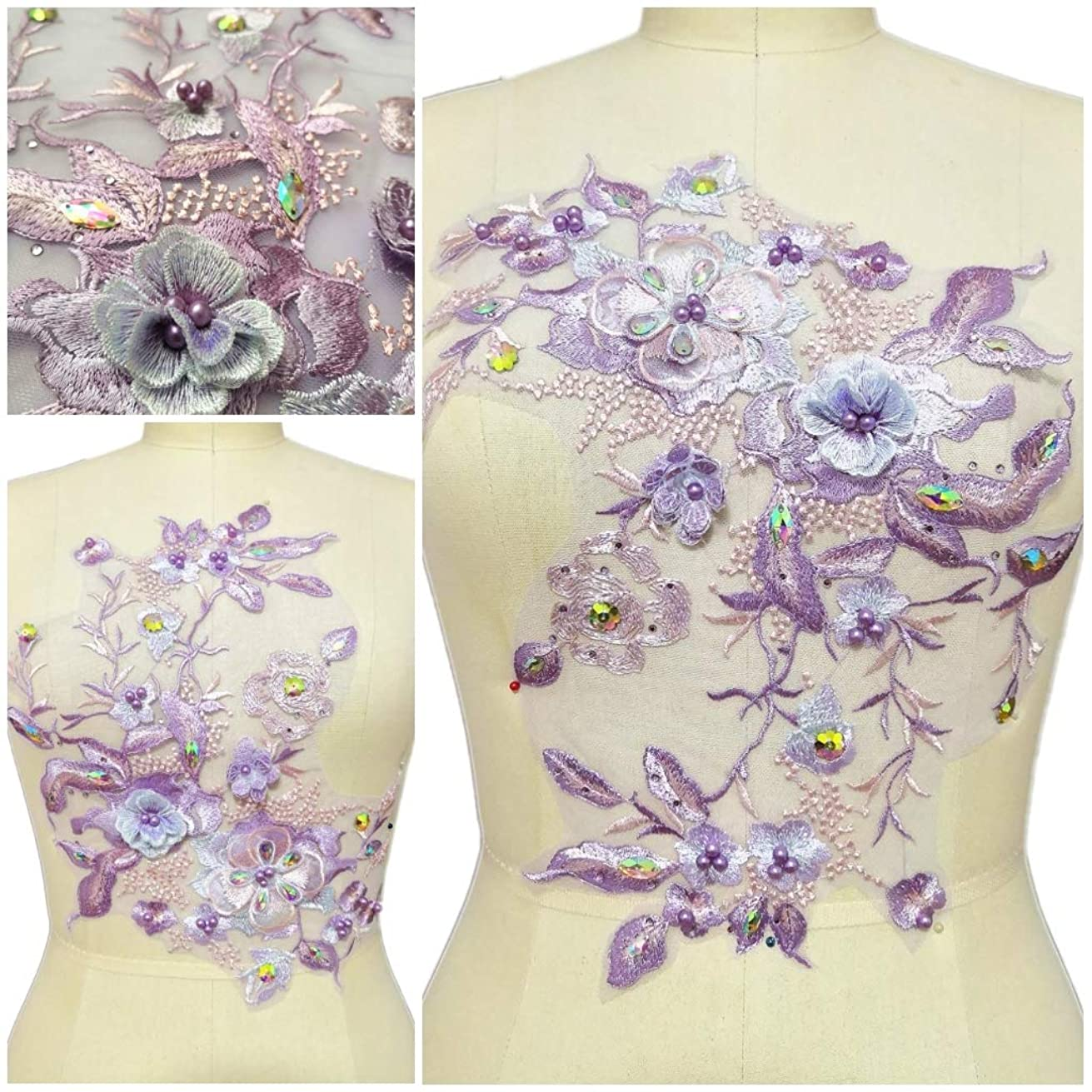 Rhinestone Pearl 3D Embroidery Lace Applique Motif Sewing of Lining Fabric Blouse Lace Patches Wedding Dress Accessories (Color B)