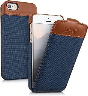 kalibri Funda Emma para Apple iPhone SE / 5 / 5S - Case Plegable de Tela y Cuero auténtico - Estuche Estilo Flip en Azul/marrón