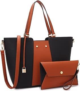 Women Large Vegan Leather Tote Bag Two Tone Handbag Fashion Work Bag Shoulder Purse