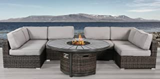 Living Source International Fire Pit Furniture Seating Patio Set with Fire Pit, Cup Holder 8 Piece Rattan Sectional Set by [CM-4270] (8 Piece Fire Table, Camden Brown)