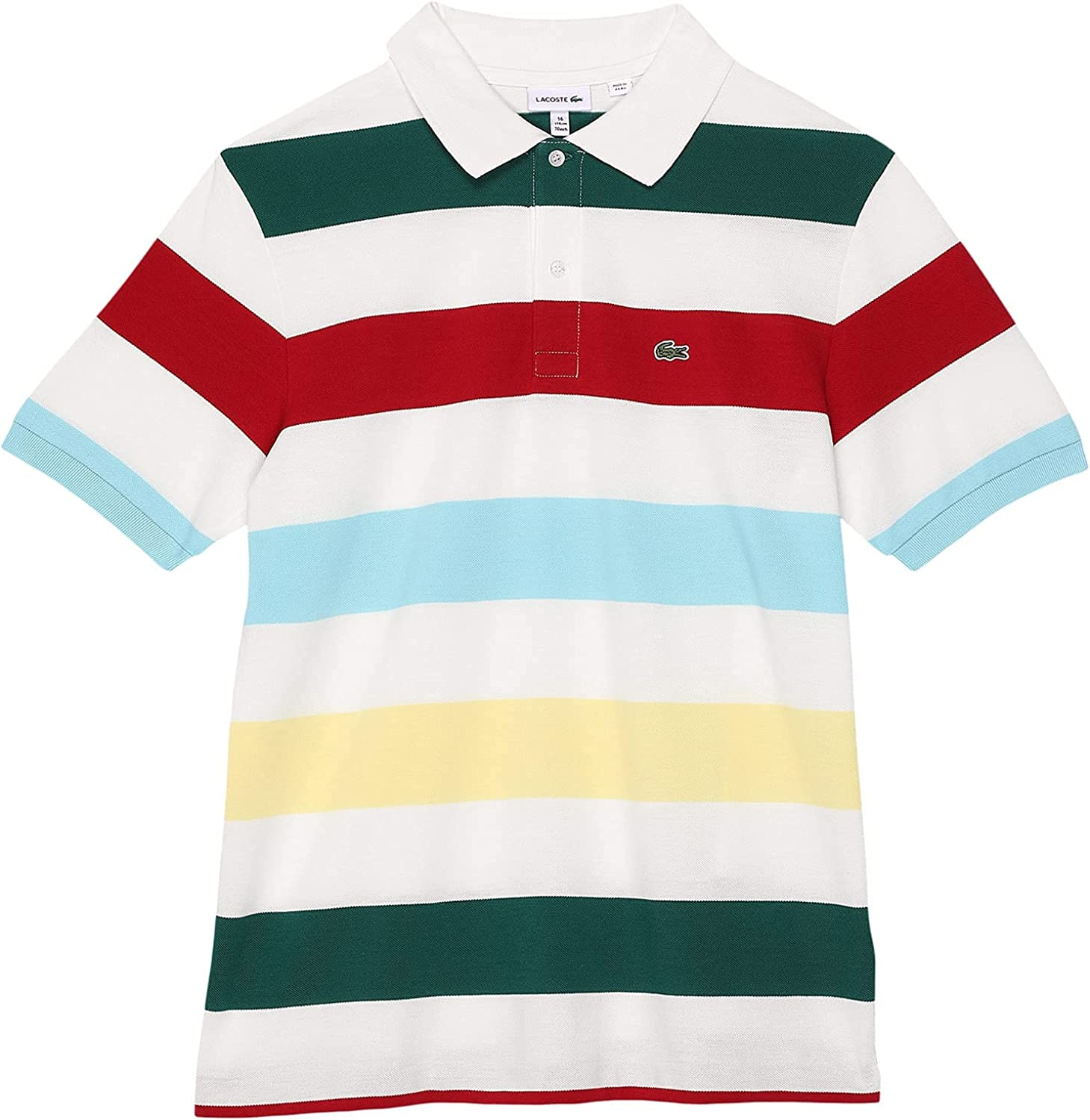 Financial sales sale Lacoste Boy's Short Sleeve Polo Colorblock Striped At the price