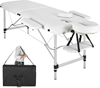TecTake Camilla de Masaje portatil en Aluminio 2 Zonas Mesa Banco de Masaje + Bolsa (Blanco | No. 402788)
