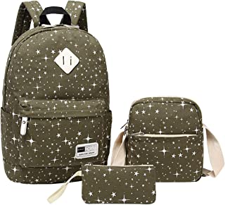 Aiduy 3 Pack School Backpack Canvas Bookbags Laptop Bag for Girls and Women (Navy)