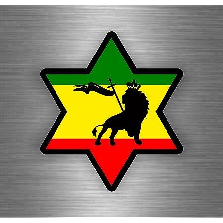 Akachafactory Selbstklebend Sticker Auto Rasta Reggae One Love Löwe Jamaikanische Flagge Ref11 Auto