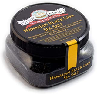 Hawaiian Black Lava Sea Salt - All-Natural Unrefined Hawaiian Sea Salt Infused with Activated Charcoal - Gorgeous Finishing Salt - No Gluten, No MSG, Non-GMO - 4 oz. Stackable Jar