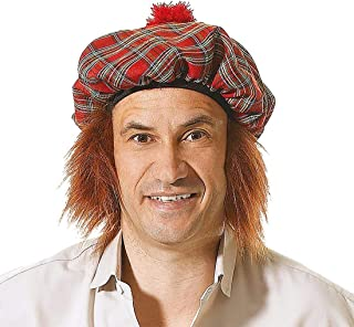 Mens Womens See You Jimmy Hat with Ginger Hair Womens Adults Scotsman Tam O Shanter Cosplay Headdress One Size