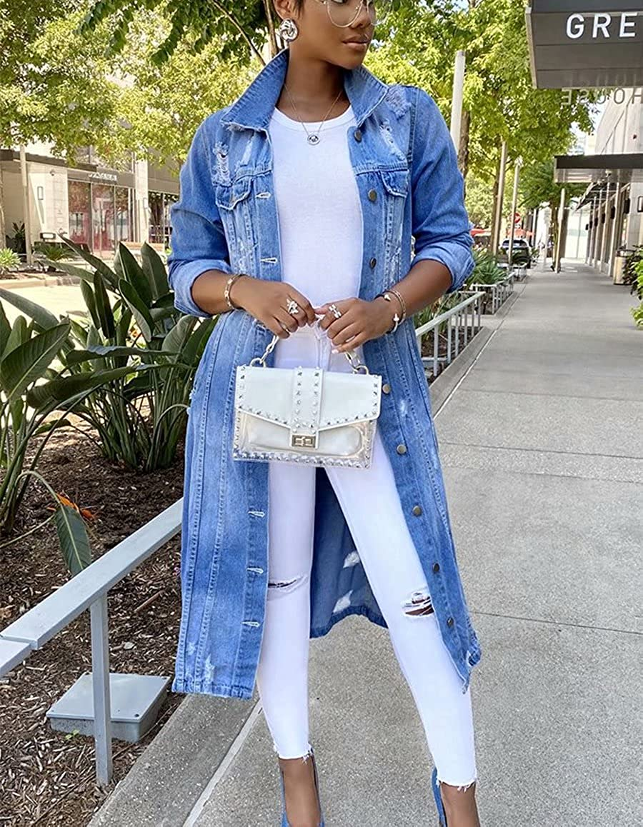 Women's Casual Long Ripped Denim Jacket Jean Coat Ripped Hole Button Down Distressed Denim Coat for Women