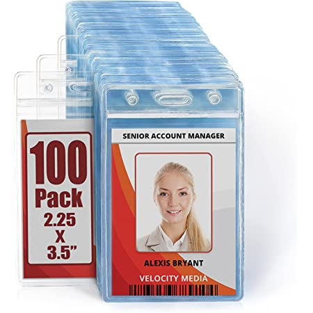 PVC Transparent Pin /& Clip Relaxdays Name Badge Holder Set of 50 ID Cover Identity Card Identification Reusable