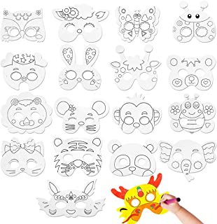 CIEOVO 18Pcs Kids DIY Blank Graffiti Masks Children Paper Masks to Decorate Bulk DIY Animal Craft Mask for Parties/Cosplay/Halloween/Kids' Hand Painting Art Crafts,18 Designs