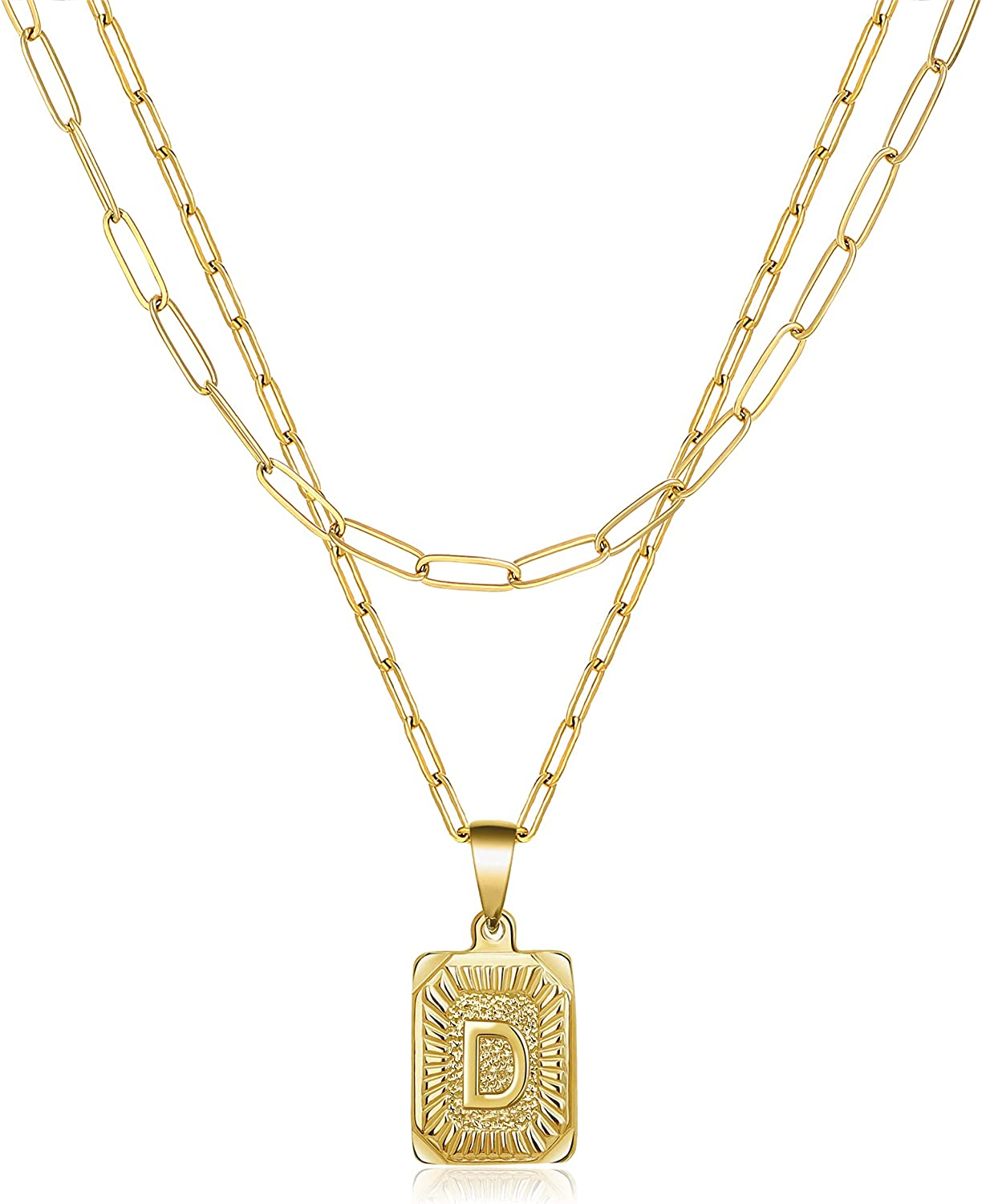 Layered Choker Necklaces for Women Girls Dainty Trendy Layering Paperclip Gold Planted Stainless Steel Chain Pendant Necklace Jewelry Gifts for Mother Daughter Sister Square Letter A-Z