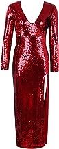 UONBOX Women's Long Sleeves Deep V Neck Split Midi Cocktail Party Sequin Dress