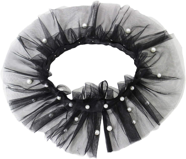 YOUSIKE Detachable Shawl, Women Imitation Pearl Beading Ruffled Mesh False Fake Collar Vintage Victorian Neck Ruff Detachable Evening Shawl Wrap Choker Neckwear