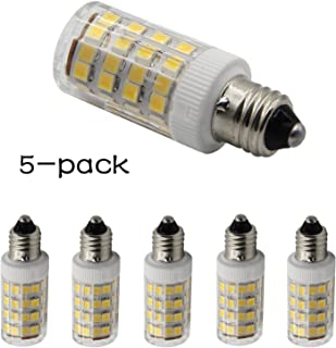 LED E11 T4 Mini-Candelabra Light Bulb 4W 40W to 50W Halogen Replacement (5 Pack) 52SMD2835 Corn JDE11 120V for Chandeliers, Sconce, Cabinet Lighting, Warm White 3000K, Dimmable