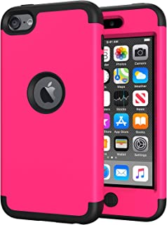 iPod Touch 7 Case for Girls, iPod Touch 6 Case, SLMY(TM) Heavy Duty High Impact Armor Case Cover Protective Case for Apple iPod Touch 5/6/7th Generation Hot Pink/Black