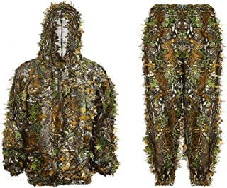Ghillie Suit Kids Adult 3D Leafy Hooded Camouflage Clothing Outdoor Woodland Hunting Suit Sniper Costume Camo Outfit for J...