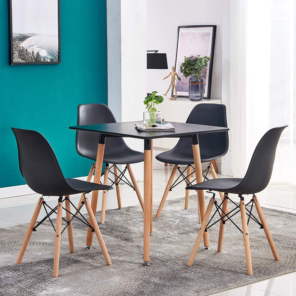 Buy HomeSailing Black Wood Dining Table and 9 Chairs Set Small ...