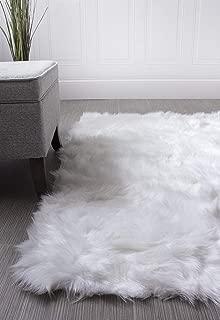 Super Area Rugs Soft Faux Fur Sheepskin Flokati Shag Silky Rug Baby Nursery Childrens Room Rug in White, 5' x 7'