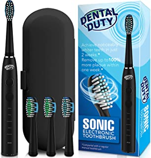 Sonic Electric Toothbrush, Electronic Black Toothbrush w/Replacement Brush Heads & Travel Case, Rechargeable Toothbrush w/Smart Timer, Ultra Whitening Toothbrushes For Adults w/Sensitive Teeth