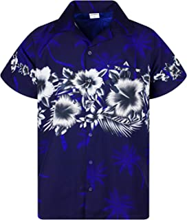 King Kameha Funky Hawaiian Shirt Men Shortsleeve Frontpocket Hawaiian-Print Leaves Flowers Chest Border Print