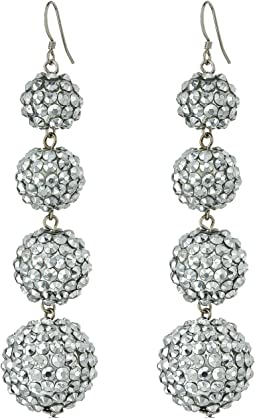 Kenneth Jay Lane Graduated 4 Ball Sparkly Crystal Fish Hook Top Ear Earrings