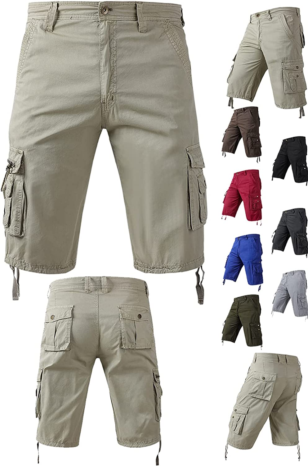 Osmyzcp Mens Camo Multi Pockets Shorts Relaxed Fit Camouflage Outdoor Cargo Shorts