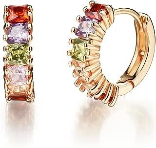 NEVI Zirconia 18K Gold Hoop Fashion Earrings For Women Girls (Multi Colour)