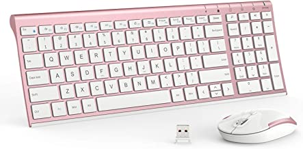 iClever Wireless Keyboard and Mouse Combo - 2.4G Portable Wireless Keyboard Mouse with Rechargeable Battery, Ergonomic Design, Full Size, Slim & Thin, Stable Connection, Adjustable DPI, Rose Gold