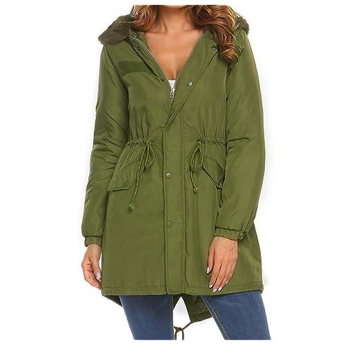 28ad58113043b Meaneor Women Winter Long Coats Parkas Faux Fur Hooded Jackets