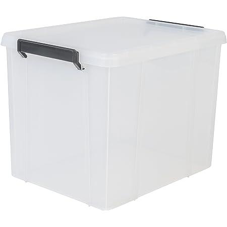 Iris Ohyama, Boîte de Rangement / Bac en Plastique avec Couvercle - Multi Box - MBX-38 - Plastique, Transparent, 38 L, 45,3 x 34,8 x 34,3 cm