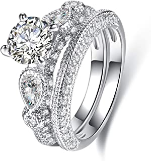 Barzel 18K White Gold Plated Or Rose Gold Plated Cubic Zirconia Multi-Band Engagement Ring Set