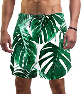 henghenghaha Mens Swim Shorts Waterproof Quick Dry Beach Shorts with Mesh Lining,Green Tropical Leaves Pattern