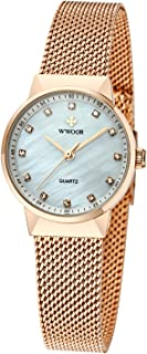 WWOOR Women's Rhinestone Stainless Steel Mesh Band Quartz Watch Casual Business Wristwatch
