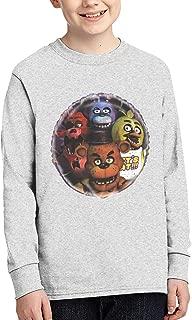 Five Nights at Freddy's Long Sleeve Shirt for Boys Crewneck Tee T-Shirt,Gray,