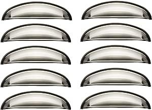 armadi pomelli con Viti cassetti 82 x 35 mm Ottone Spazzolato 10 Pezzi per armadietti Bowarepro Porte Lega di Zinco Cucina Set di 10 Maniglie antiche a Forma di Conchiglia
