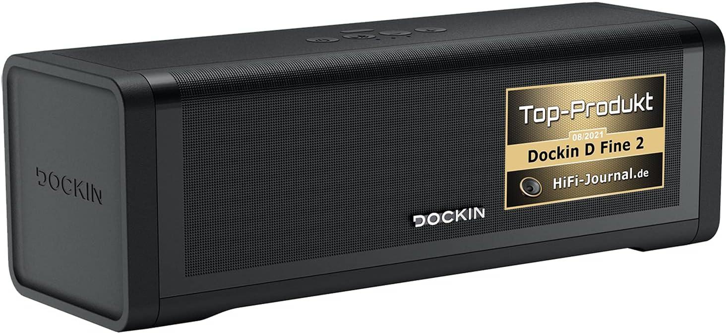 DOCKIN D Fine 2 Altavoz Bluetooth Doble Estéreo 50W - Speaker Audio Inalámbrico Fuerte para Exterior e Interior - Portátil, Resistente al Agua IP55, 12H Batería - Cargador Integrado de 7,500 mAh
