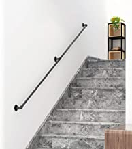 DIYHD 6.6FT Stair Black Pipe Handrail with 3 Wall Mount Supports,Rustic Black,Round Corner Style