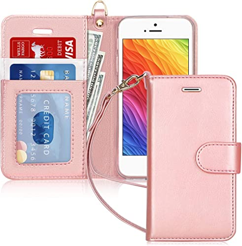 FYY Case for iPhone SE/iPhone 5S/iPhone 5, [Kickstand Feature] Luxury PU Leather Wallet Case Flip Folio Cover with [C...